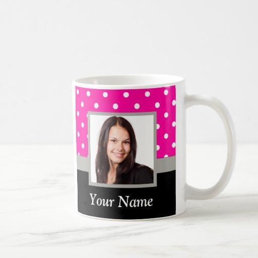 Pink Polka dot photo template Mug