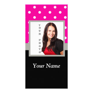 Pink Polka dot photo template Picture Card