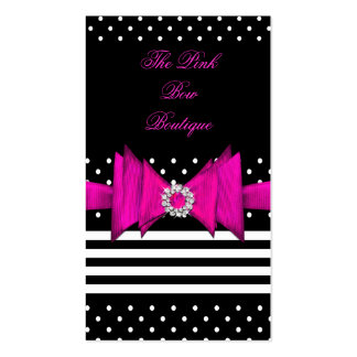 Pink Polka Dot Pink Black Stripe Pink Diamond Bow Pack Of Standard Business Cards
