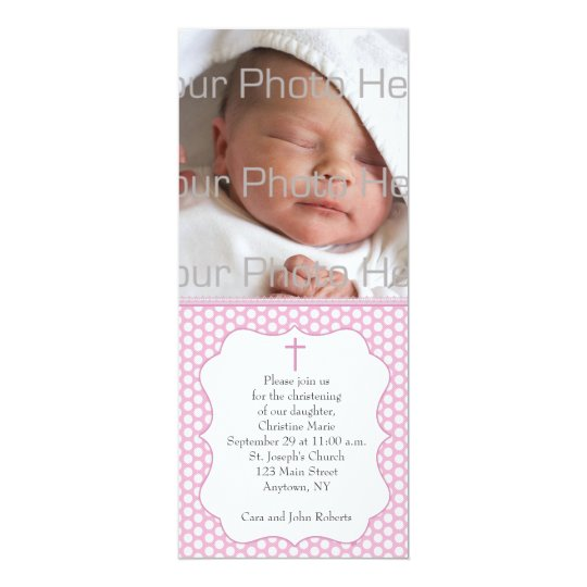 Pink Polka Dot Religious Photo Card
