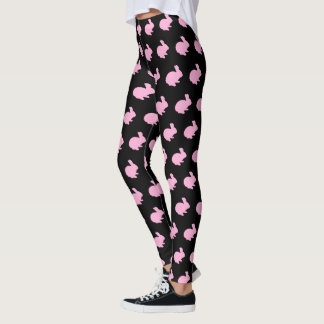 Pink Polka Dot Silhouette Bunny Rabbit Leggings