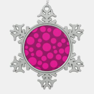 Pink polka dot snowflake pewter christmas ornament