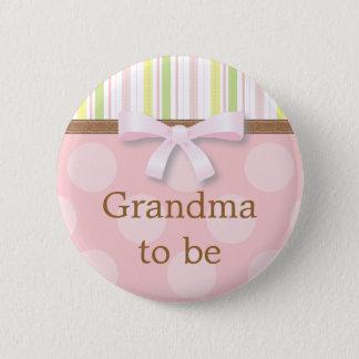 "Pink Polka Dot Stripes - ""Grandma to Be"" Pin"