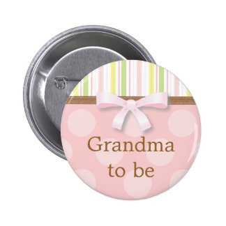 "Pink Polka Dot Stripes - ""Grandma to Be"" Pin"