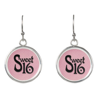 Pink Polka Dot Sweet 16 Birthday Earrings