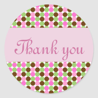 Pink Polka dot thank you envelope seals Round Sticker