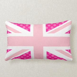 Pink Polka Dot Union Jack Throw Pillows