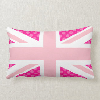 Pink Polka Dot Union Jack Lumbar Cushion