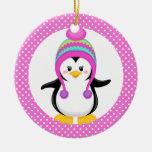 Pink Polka Dot Winter Penguin Girl