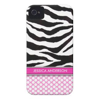 Pink Polka Dot Zebra Stripe iPhone 4 Case-Mate iPhone 4 Case
