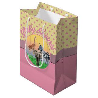 Pink Polka Dot Zoo Animal Baby Shower Bag