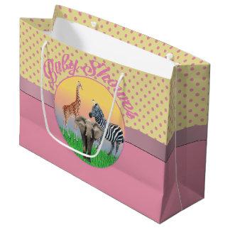 Pink Polka Dot Zoo Animal Baby Shower LG  Bag