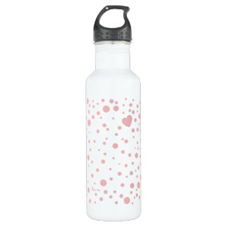 Pink Polka Dots and a Heart 710 Ml Water Bottle