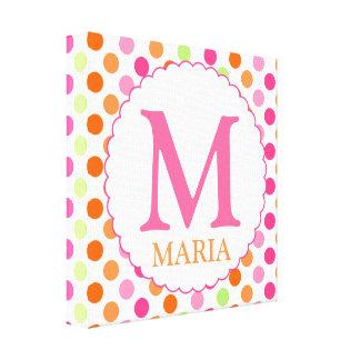 Pink Polka Dots and Initial Wall Decor Canvas Prints