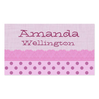 Pink Polka Dots and Lace Mommy Play Date Business Card Templates
