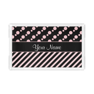 Pink Polka Dots and Stripes On Black Background Acrylic Tray