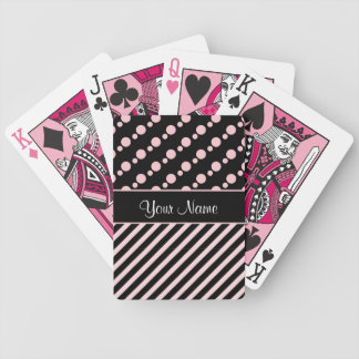 Pink Polka Dots and Stripes On Black Background Bicycle Playing Cards
