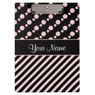 Pink Polka Dots and Stripes On Black Background Clipboard