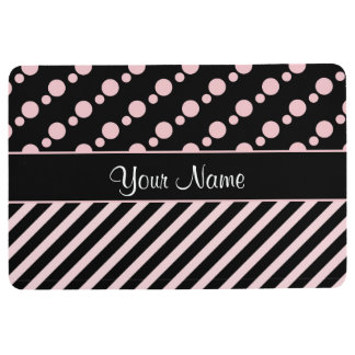 Pink Polka Dots and Stripes On Black Background Floor Mat