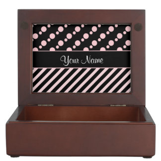 Pink Polka Dots and Stripes On Black Background Keepsake Box