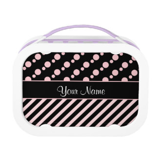 Pink Polka Dots and Stripes On Black Background Lunch Box