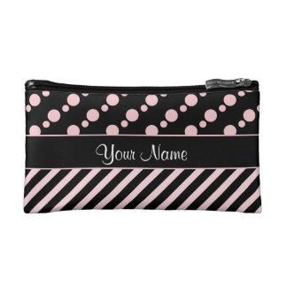 Pink Polka Dots and Stripes On Black Background Makeup Bag