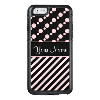 Pink Polka Dots and Stripes On Black Background OtterBox iPhone 6/6s Case
