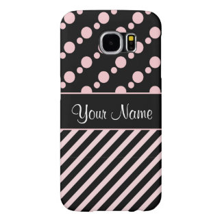 Pink Polka Dots and Stripes On Black Background Samsung Galaxy S6 Cases