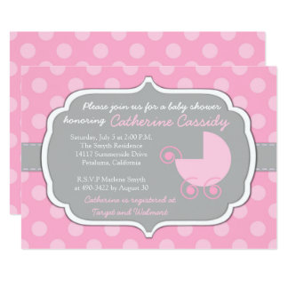 Pink Polka Dots Baby Girl Baby Shower Invitation