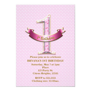 Pink Polka Dots Banner ONE 1st 1 Birthday Party Invitation