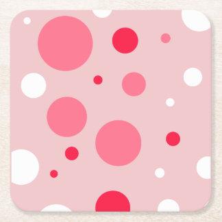 Pink Polka Dots Coaster Square Paper Coaster