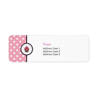 Pink Polka dots Cupcakes Cute Bakery Address Label