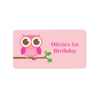 Pink Polka Dots Cute Owl Birthday Party Address Label