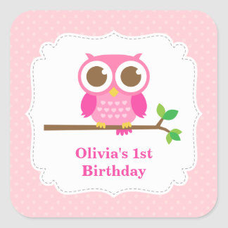 Pink Polka Dots Cute Owl Birthday Party Square Sticker
