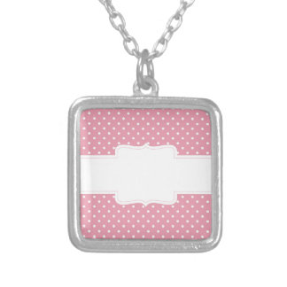 Pink Polka Dots Delicate Bridal or Baby Shower Square Pendant Necklace