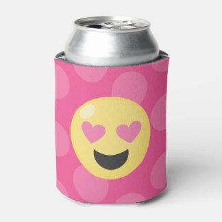 Pink Polka Dots Emoji Love Pink Can Cooler