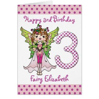 Pink Polka Dots Fairy Princess 3rd Birthday Card