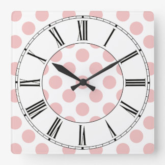 Pink Polka Dots Girly Wallclocks