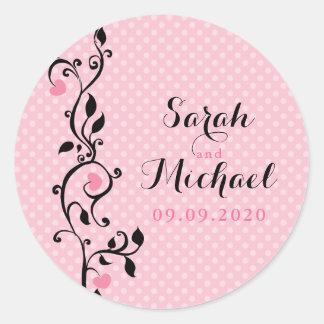 Pink Polka Dots Heart Vine Wedding Round Sticker