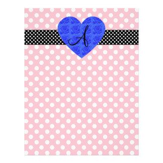 Pink polka dots monogram blue roses 21.5 cm x 28 cm flyer