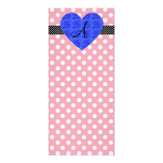 Pink polka dots monogram blue roses full color rack card