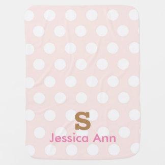 Pink Polka Dots Monogram Inital Baby Blanket
