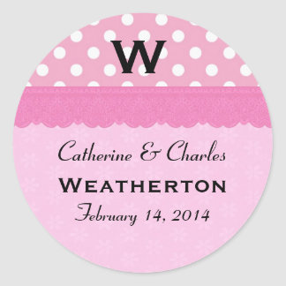 Pink Polka Dots Monogram Wedding Round Sticker