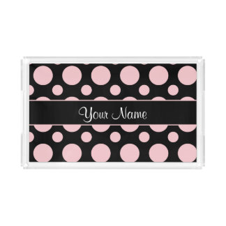 Pink Polka Dots On Black Background Acrylic Tray