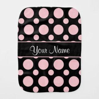 Pink Polka Dots On Black Background Burp Cloth
