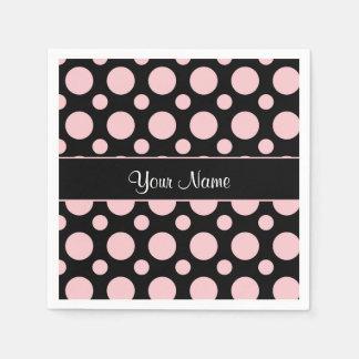Pink Polka Dots On Black Background Disposable Serviette