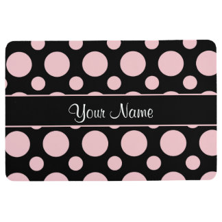 Pink Polka Dots On Black Background Floor Mat