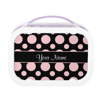 Pink Polka Dots On Black Background Lunch Box
