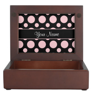 Pink Polka Dots On Black Background Memory Boxes