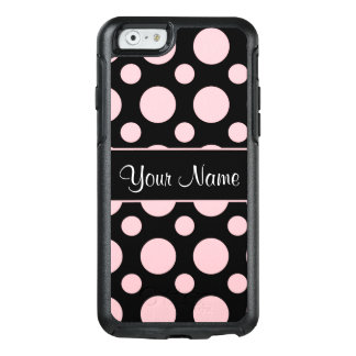 Pink Polka Dots On Black Background OtterBox iPhone 6/6s Case